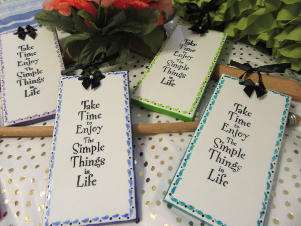 Ceramic Tiles Affirmation Unique One of A Kind Hand Painted SIMPLE THINGS in LIFE Special Choice of Colors Red, Blue, Green, Aqua, Purple - JAMsCraftCloset