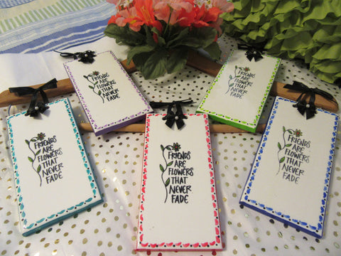 Ceramic Tiles Affirmation FRIENDS ARE FLOWERS Unique Gift Hand Painted Positive Saying - JAMsCraftCloset