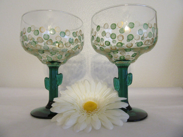 Unique Vintage Hand Painted One of a Kind Margarita Green Saguaro Cactus Stemware - Green and Gold HAPPY DOTS - Set of 4 - JAMsCraftCloset