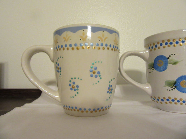Mugs Cups Coffee Blues Hand Painted  Off White Blue Gold White HAPPY DOT Flowers Green Glass Aqua Dot Flowers - JAMsCraftCloset