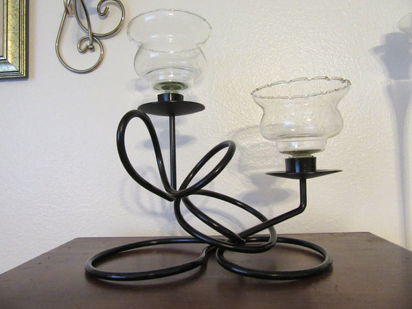 Candle or Tea Light Holder Gothic Vintage Handmade Wrought Iron Abstract  Centerpiece - JAMsCraftCloset