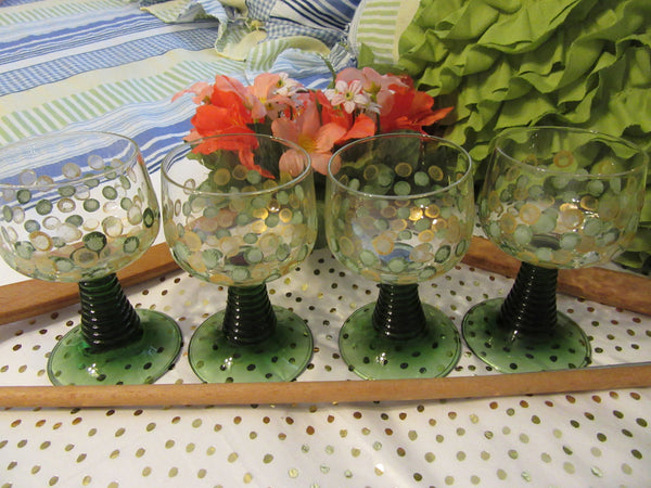 TINY Wine Glasses Hand Painted Green Stemmed Green Gold HAPPY DOTS  Set of 4 - JAMsCraftCloset
