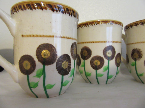Mugs Coffee Hand Painted Brown Gold Set of 4 HAPPY DOT Design - JAMsCraftCloset
