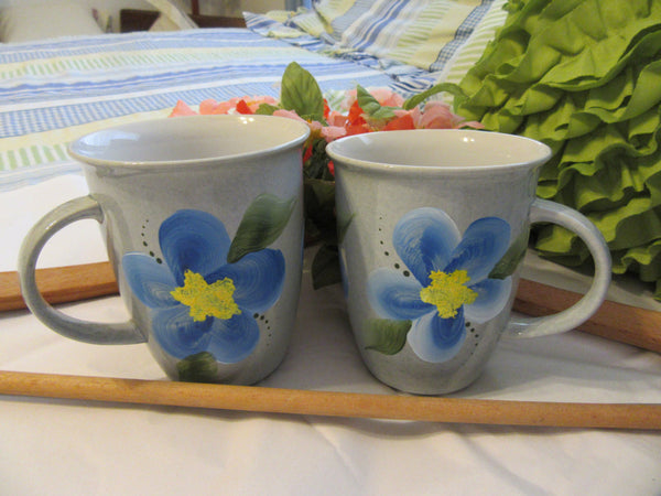 Mugs Blue Floral Accents  Hand Painted BUY 2 Get 1 FREE - JAMsCraftCloset