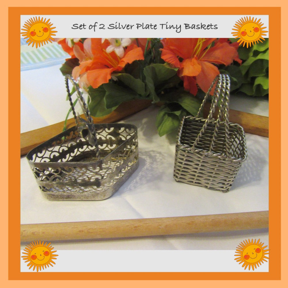 Baskets Tiny 3 by 2 by 2 Inches Silver Plate Vintage Set of 2 - JAMsCraftCloset