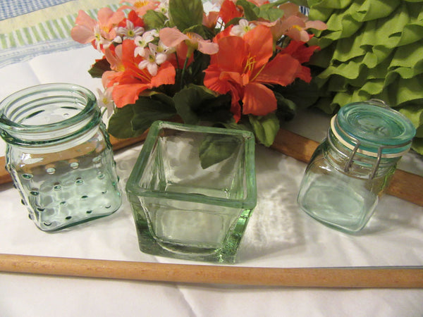 Containers Green Glass Unique Unusual Vintage Set of 3 - JAMsCraftCloset