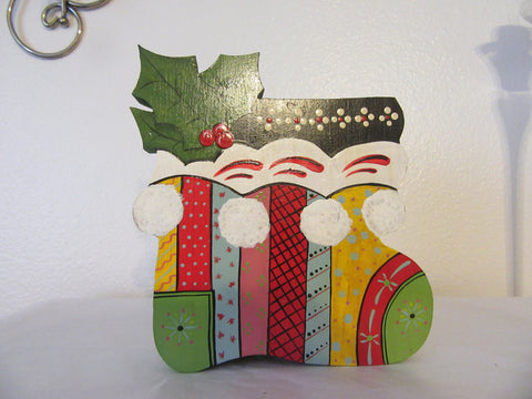 Holiday Boot Candy Cane Holder Vintage Handmade Hand Painted by my DAD Christmas - JAMsCraftCloset