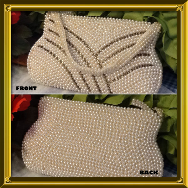 Evening Bag Purse Beaded 1950 Vintage Faux Pearl Small Zipper Closure Made in Japan - JAMsCraftCloset