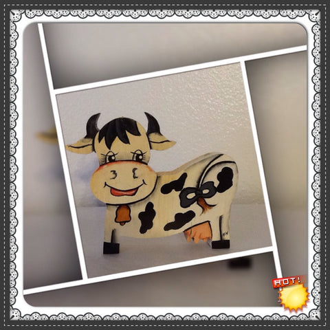 Happy Cow Shelf Sitter Vintage Handmade Hand Painted by my DAD Wooden Country Decor Country Home Gift Idea Cow Collector Farm Animals - JAMsCraftCloset