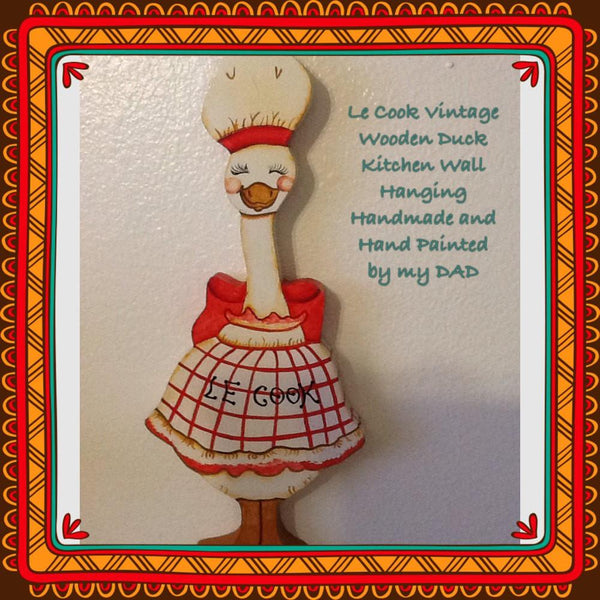 Wall Art Vintage Wooden Le Cook Duck Handmade Hand Painted - JAMsCraftCloset