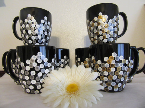 Cups Mugs Coffee Hand Painted Black With White, Silver, Gold HAPPY DOTS Set of 4 - JAMsCraftCloset