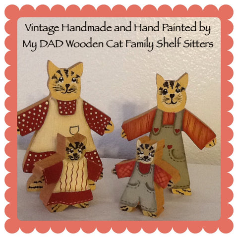 Cat Family Shelf Sitters Vintage Wooden Handmade Hand Painted by DAD Country Decor Home Decor Cottage Chic Decor Kid Decor Cat Collector - JAMsCraftCloset