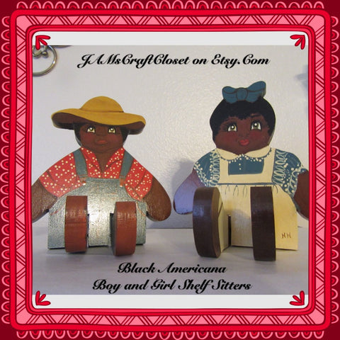 Black Americana Boy and Girl Shelf Sitters Vintage One of a Kind Primitive Decor Country Decor Cottage Chic Decor Gift Idea Collectible Memorabilia - JAMsCraftCloset