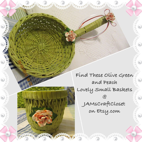 Basket Wicker Hanging SMALL Cup Like Basket Olive Green Orange White Flower Bow Accents Set of 2 - JAMsCraftCloset
