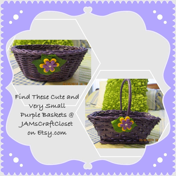 Basket Flower Girl Small Purple Wicker Yellow Purple Polka Dot Flowers Wedding Table Decor - JAMsCraftCloset