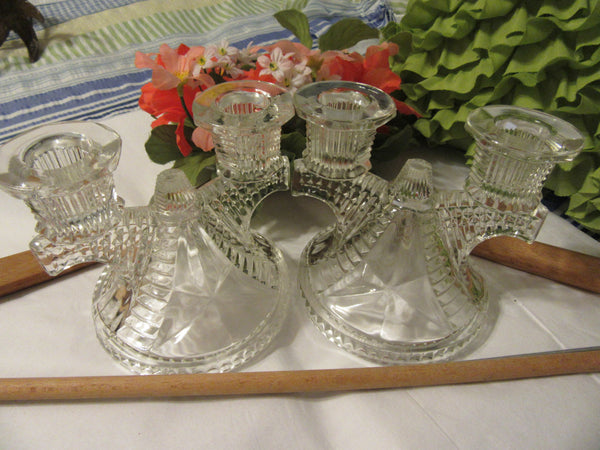 Candlestick Candle Holder Vintage Clear Crystal Cut Glass STARS & BARS Art Deco Double Arm Ribbed - JAMsCraftCloset