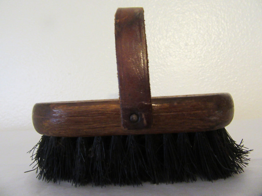 Brush Stevens 2 A Vintage With a Leather Handle Pet or Shoe Brush - JAMsCraftCloset