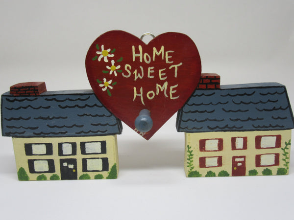 Wall Plaque Vintage Wooden Home Sweet Home Shelf Sitter Handmade Hand Painted - JAMsCraftCloset