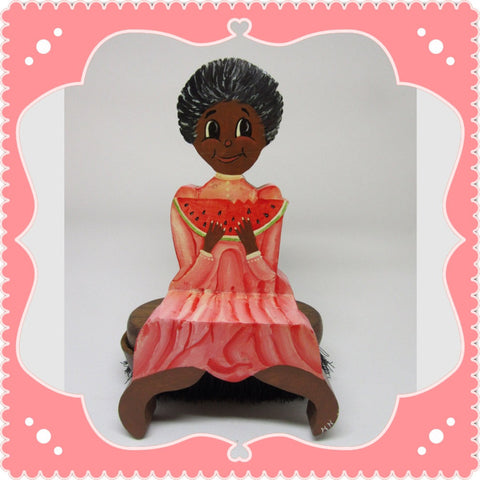 Black Americana Girl With Watermelon Shelf Sitter-Wooden One of a Kind Handmade-Hand Painted-Country Decor-Primitive Decor-Collectible-Gift - JAMsCraftCloset