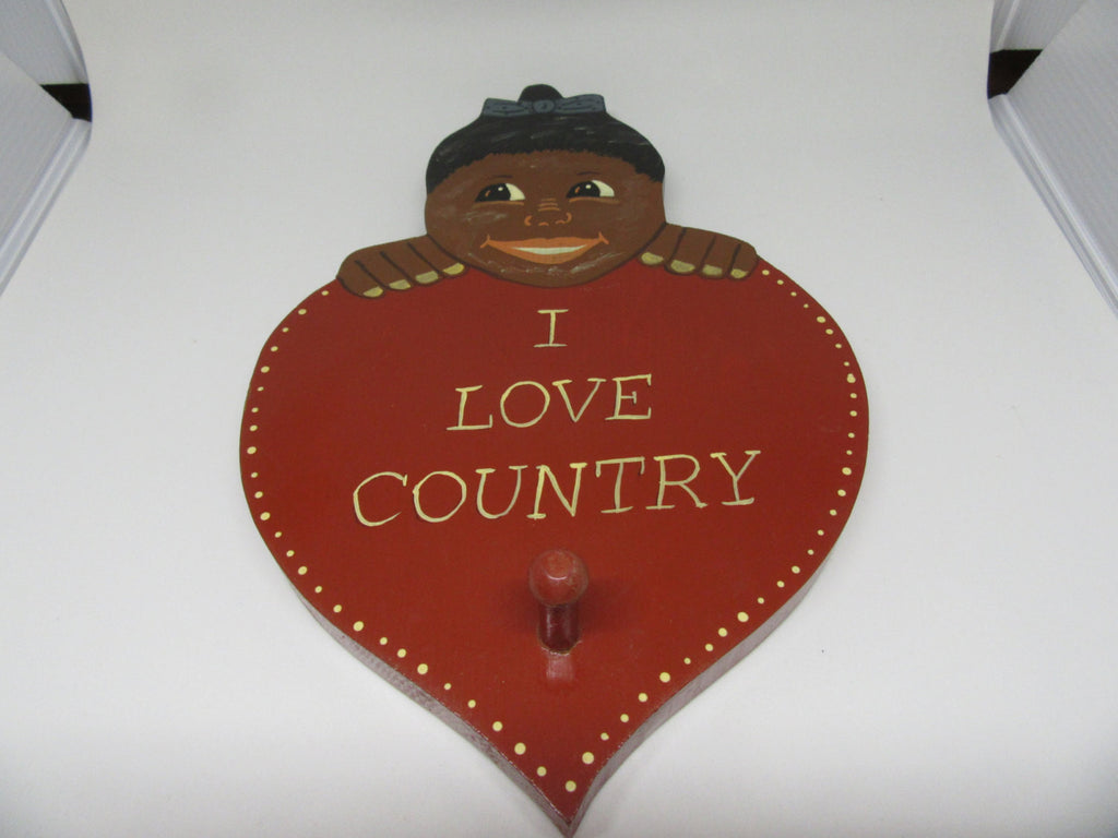 Wall Art Black Americana Pickaninny Vintage  I LOVE COUNTRY Heart Wall Plaque - JAMsCraftCloset