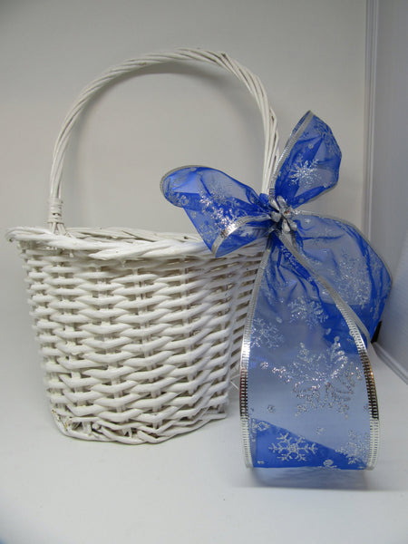 Basket Flower Girl Wedding Table Decor Vintage White Wicker Flat Backed Blue Bow Silver Snowflakes - JAMsCraftCloset