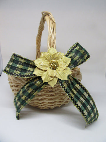 Basket Flower Girl Round Woven Natural Green Gold Bow Wedding Accessory Table Decor - JAMsCraftCloset