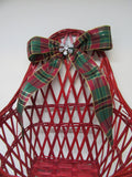 Basket Wall Red Woven Red, Green, Gold Plaid Bow Crystal Flower Accent - JAMsCraftCloset