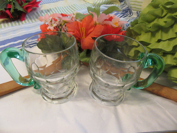 Mugs Coffee Tea Vintage Clear Glass Green Handle Handmade HandleSet of Two - JAMsCraftCloset
