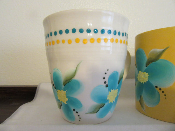 Mugs Coffee Tea Mugs Hand Painted Mugs Aqua Floral Mugs - JAMsCraftCloset
