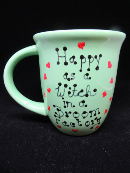 Mugs Cups Halloween Hand Painted  Happy Witch Salem Witch Ghoulfriends Pumps to Broom - JAMsCraftCloset