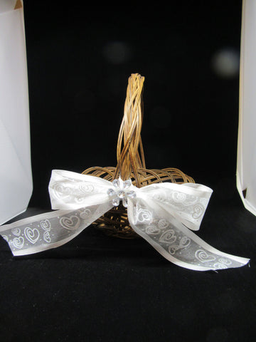 Basket Flower Girl Wedding Accessory Table Decor Vintage Natural Woven White Bow With Hearts - JAMsCraftCloset