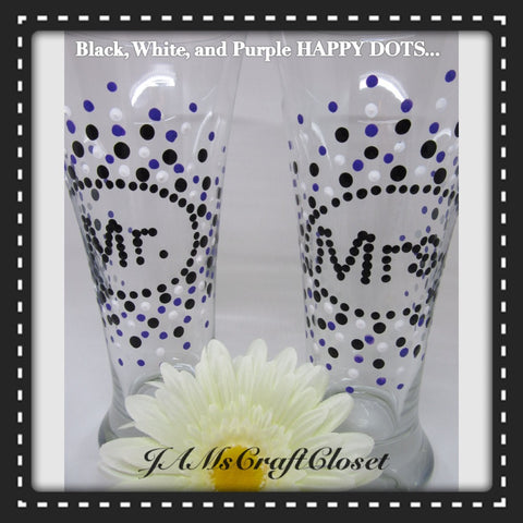 Glasses Mr and Mrs Hand Painted Black White Purple Accents - JAMsCraftCloset