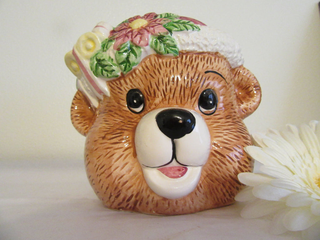 Planter Bear Flower Vintage Ceramic Bear Collector - JAMsCraftCloset