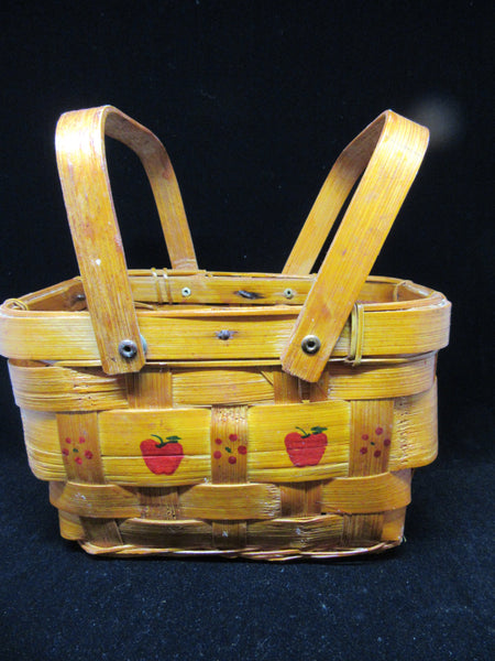 Basket Two Handles Small Vintage Rectangle Woven Hand Painted Apples Flowers - JAMsCraftCloset
