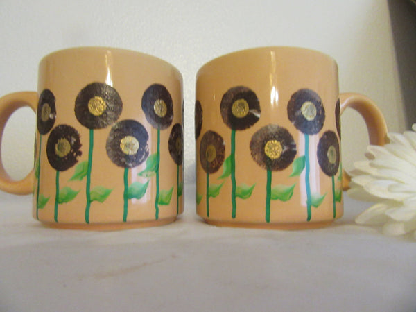 Mugs Coffee Hand Painted HAPPY DOT Floral Design Peach Mug Brown Gold Flowers - JAMsCraftCloset