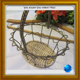 Basket Oval Wire Vintage With Woven Wicker Bottom - JAMsCraftCloset