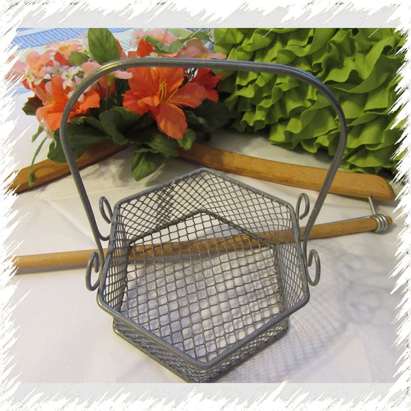 Basket Six Sided Wire Vintage Collectible - JAMsCraftCloset