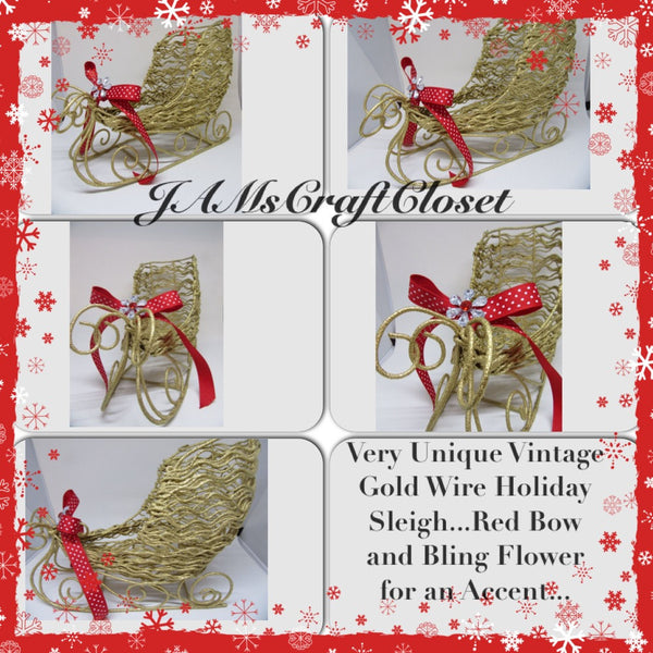 Sleigh Holiday Christmas Wire Gold Red Polka Dot Bow Bling Flower Accent - JAMsCraftCloset