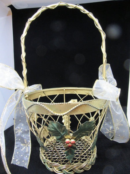 Basket Wire Christmas Vintage Gold Holly Berries Accent White Bows - JAMsCraftCloset