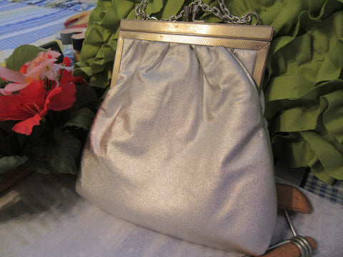 Purse Lame Fabric Evening Vintage Small Silver With Shoulder Chain or Hand Chain Party Purse - JAMsCraftCloset