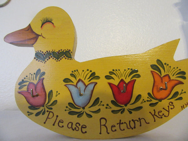 Key Holder Duck Vintage Primitive Wooden Handmade Hand Painted by My DAD 4 Key Hooks - JAMsCraftCloset