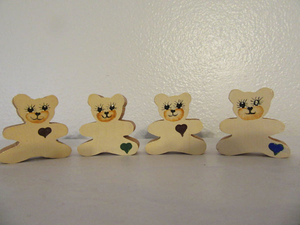 Shelf Sitter Bear Vintage Tiny Wooden Handmade Hand Painted - JAMsCraftCloset