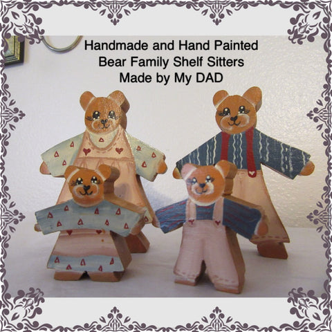 Vintage Wood Bear Family Shelf Sitters-Handmade and Hand Painted by DAD-Country Decor-Home Decor-Cottage Chic Decor-Kid Decor-Bear Collector - JAMsCraftCloset