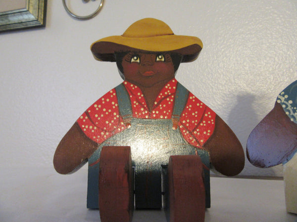 Shelf Sitter Black Americana Boy and Girl Vintage - JAMsCraftCloset