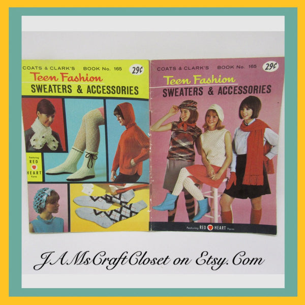 Knitting Crochet Patterns Vintage 1966 Coats Clarks Book Number 165 Teen Fashion - JAMsCraftCloset