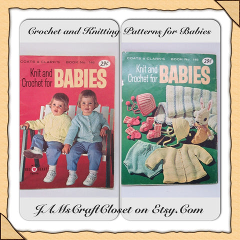Knit Crochet Patterns for Babies Vintage 1964 Coats Clarks Book Number 146 Knit Baby Patterns - JAMsCraftCloset