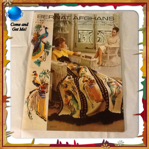 Knitting Patterns Afghan Vintage 1975 Bernat Afghans Book Number 132 Contemporary Traditional Styles - JAMsCraftCloset