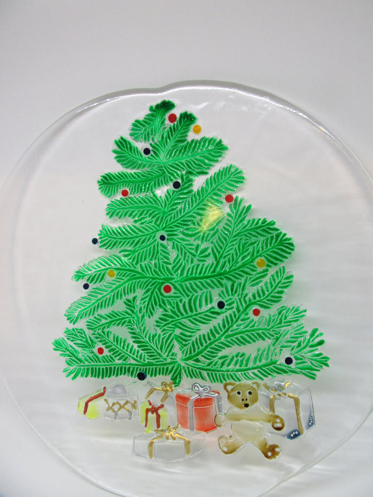 Serving Platter Clear Glass Hand Painted Christmas Christmas Tree - JAMsCraftCloset