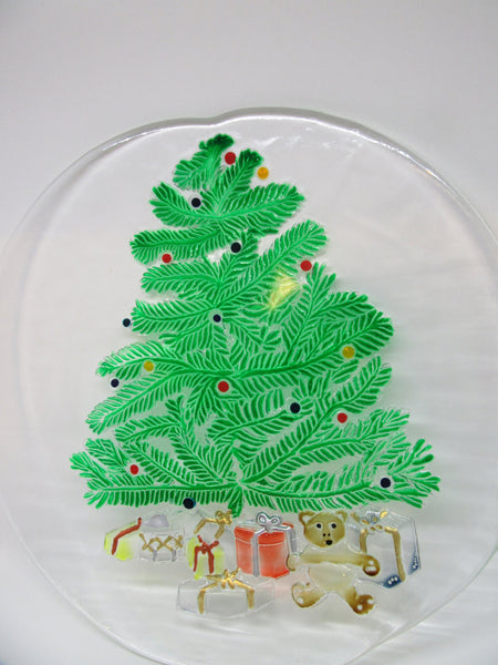 Clear Glass Serving Platter Hand Painted Christmas Christmas Tree Gifts Kitchen Decor Serving Plate Dining Decor Holiday Decor One of a Kind - JAMsCraftCloset