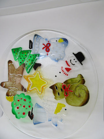 Serving Platter Christmas Hand Painted Round Clear Glass Gingerbread Boy Snowman Tree Angel Cat - JAMsCraftCloset